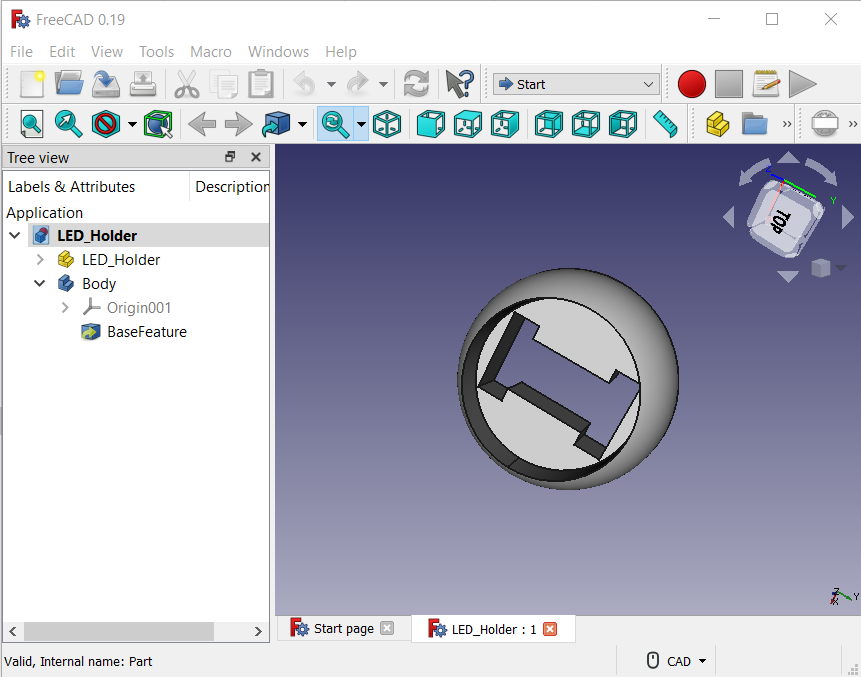 FreeCad 0.19 showing the LED holder part